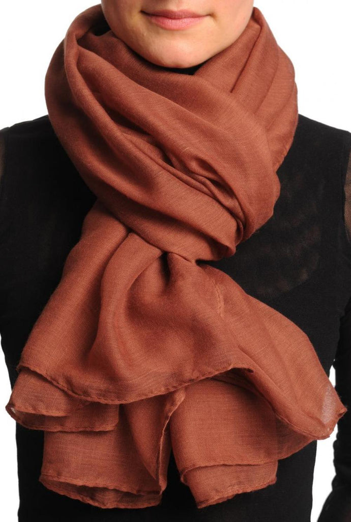 Plain Rust Brown Unisex Scarf & Beach Sarong