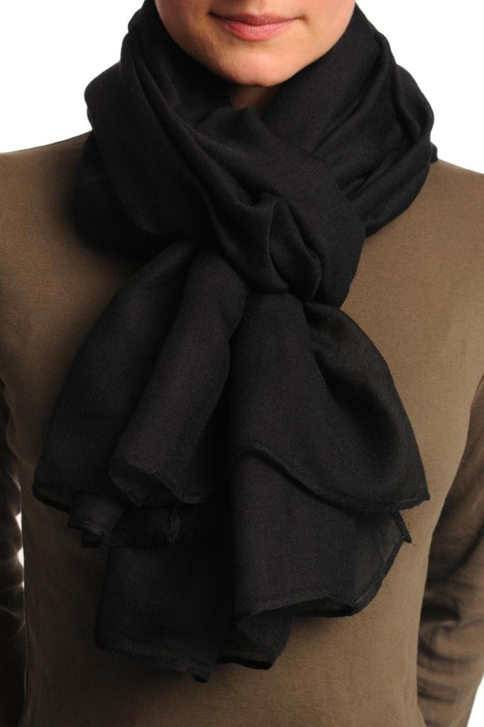 Plain Black Unisex Scarf & Beach Sarong