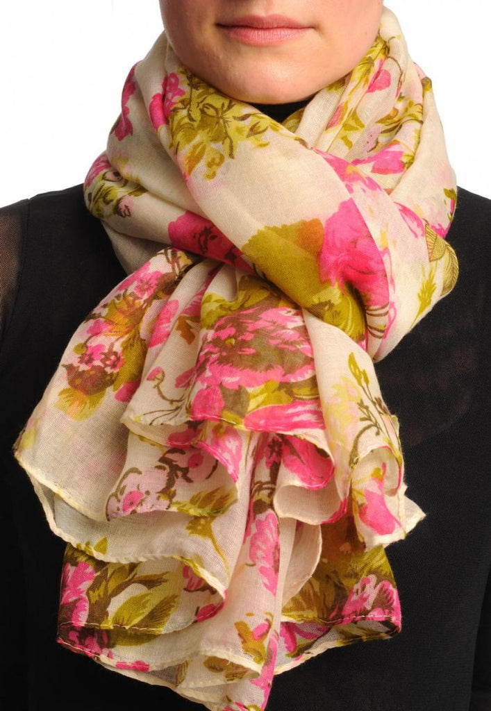 Pink Roses On Beige Unisex Scarf & Beach Sarong