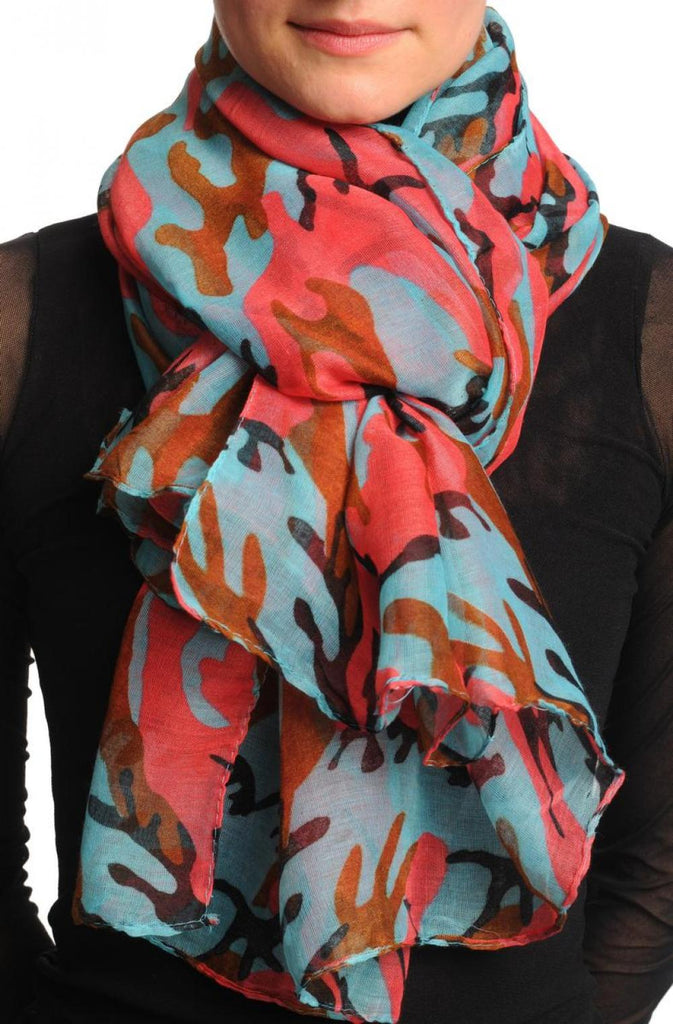Blue Pink & Brown Camouflage Unisex Scarf & Beach Sarong