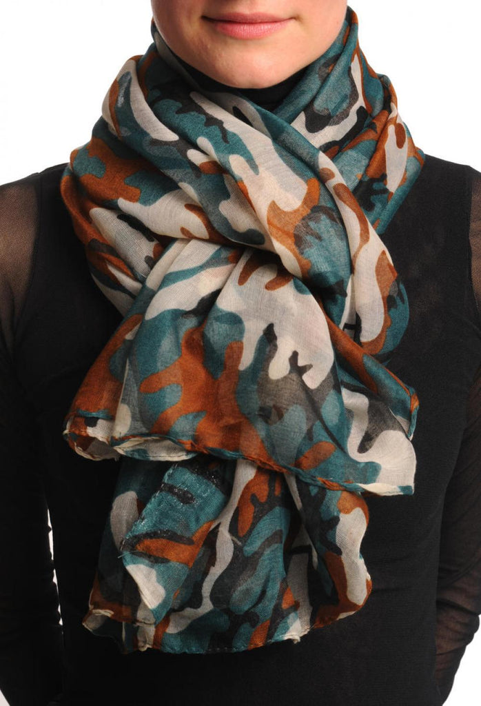 Green White & Brown Camouflage Unisex Scarf & Beach Sarong