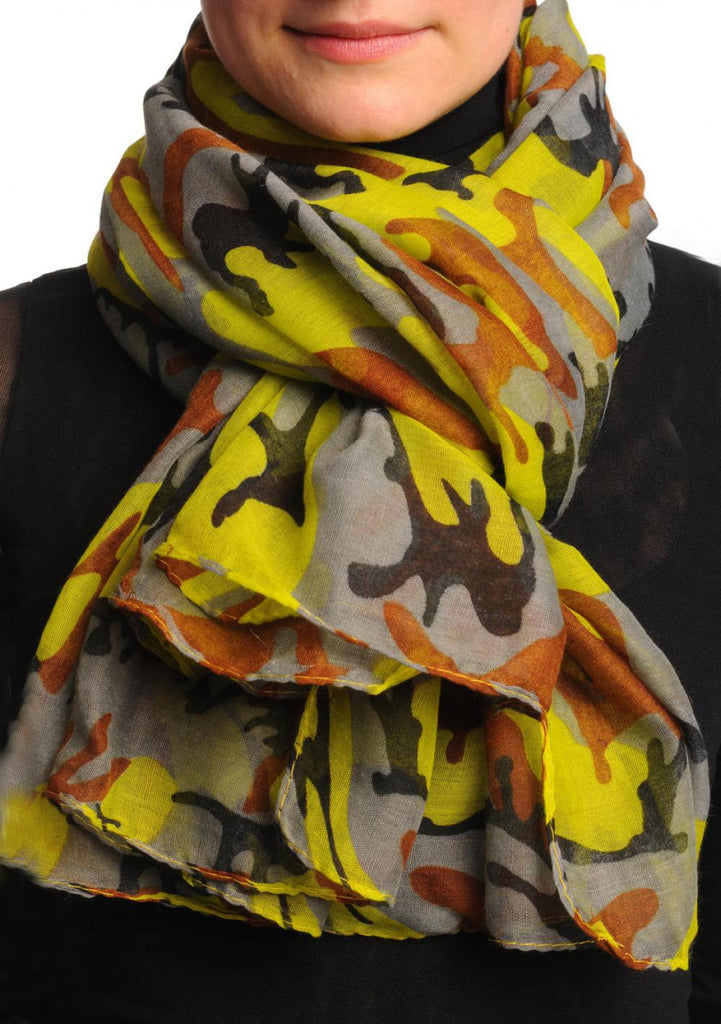 Lime Green Grey & Brown Camouflage Unisex Scarf & Beach Sarong