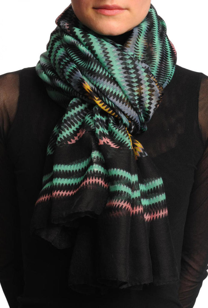 Black & Multi Coloured Zigzagged Rombs Unisex Scarf & Beach Sarong