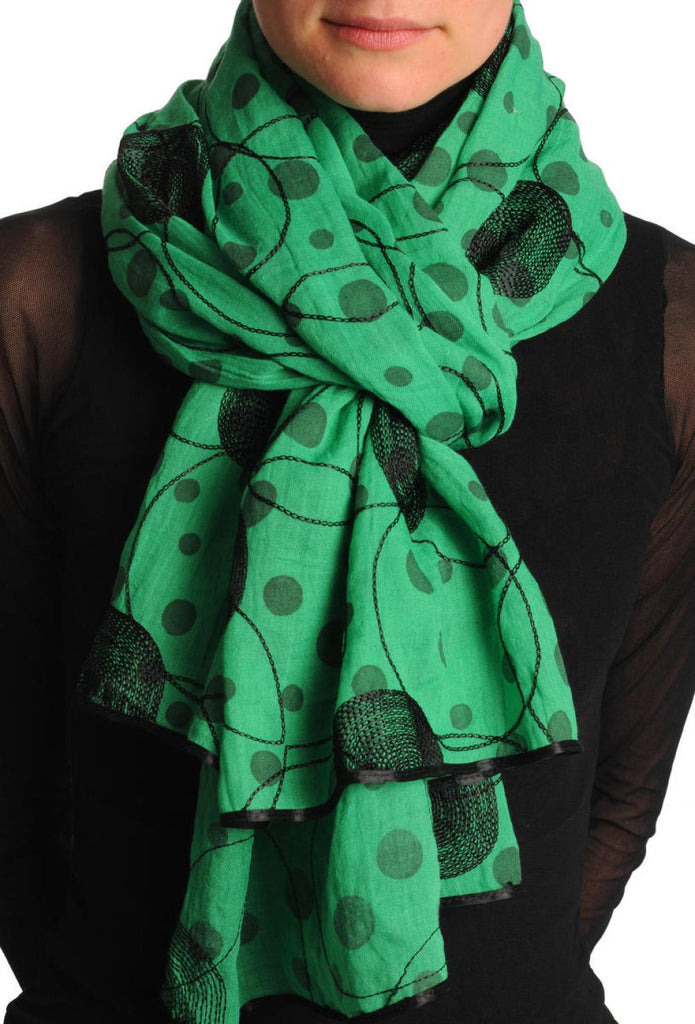 Black Sewn On Circles On Green Unisex Scarf