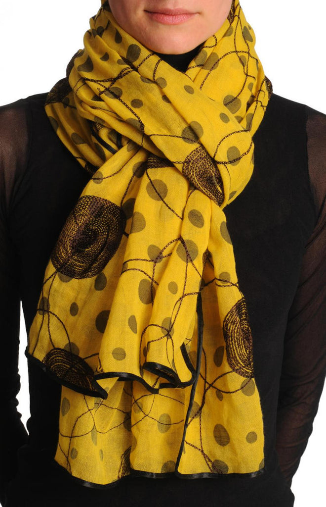 Black Sewn On Circles On Mustard Yellow Unisex Scarf
