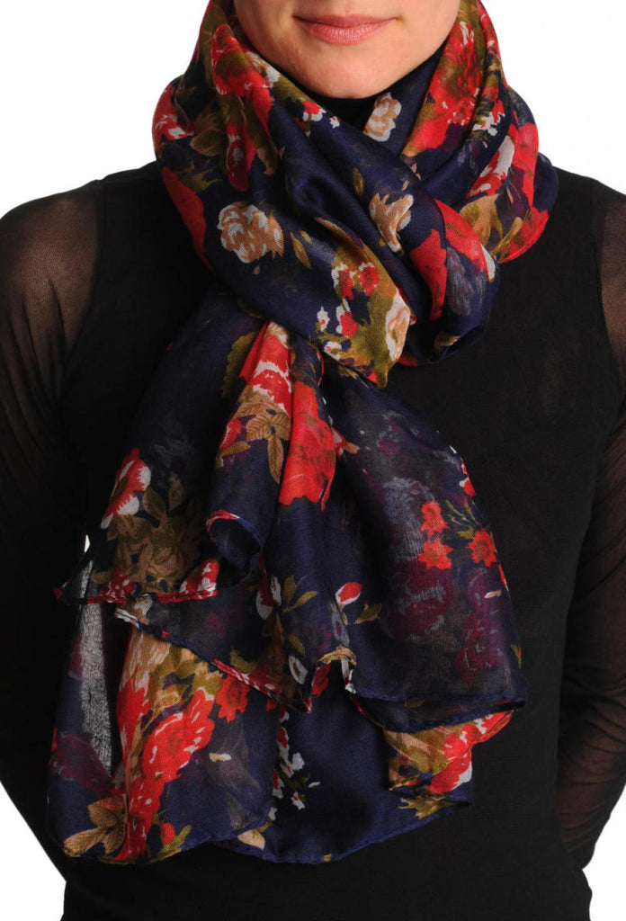Red Roses On Dark Blue Unisex Scarf & Beach Sarong