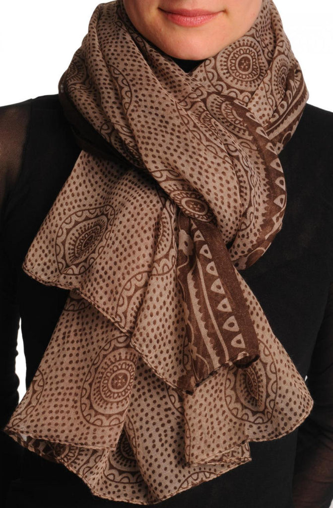 Brown Aztec Sun On Mocha Unisex Scarf & Beach Sarong