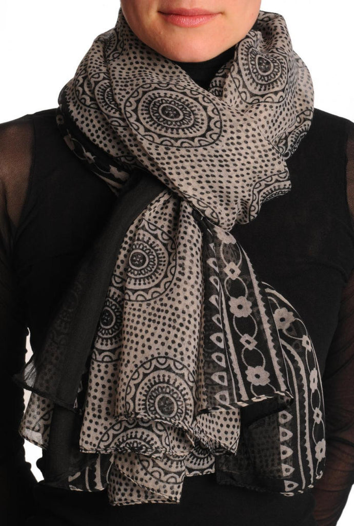 Black Aztec Sun On Mocha Unisex Scarf & Beach Sarong