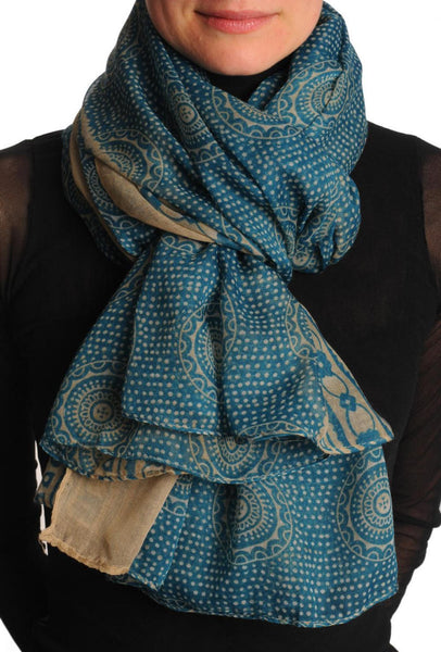 Beige Aztec Sun On Teal Blue Unisex Scarf & Beach Sarong