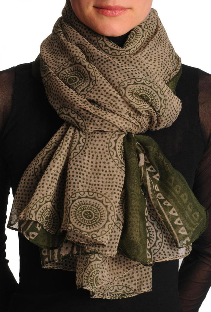 Army Green Aztec Sun On Mocha Unisex Scarf & Beach Sarong