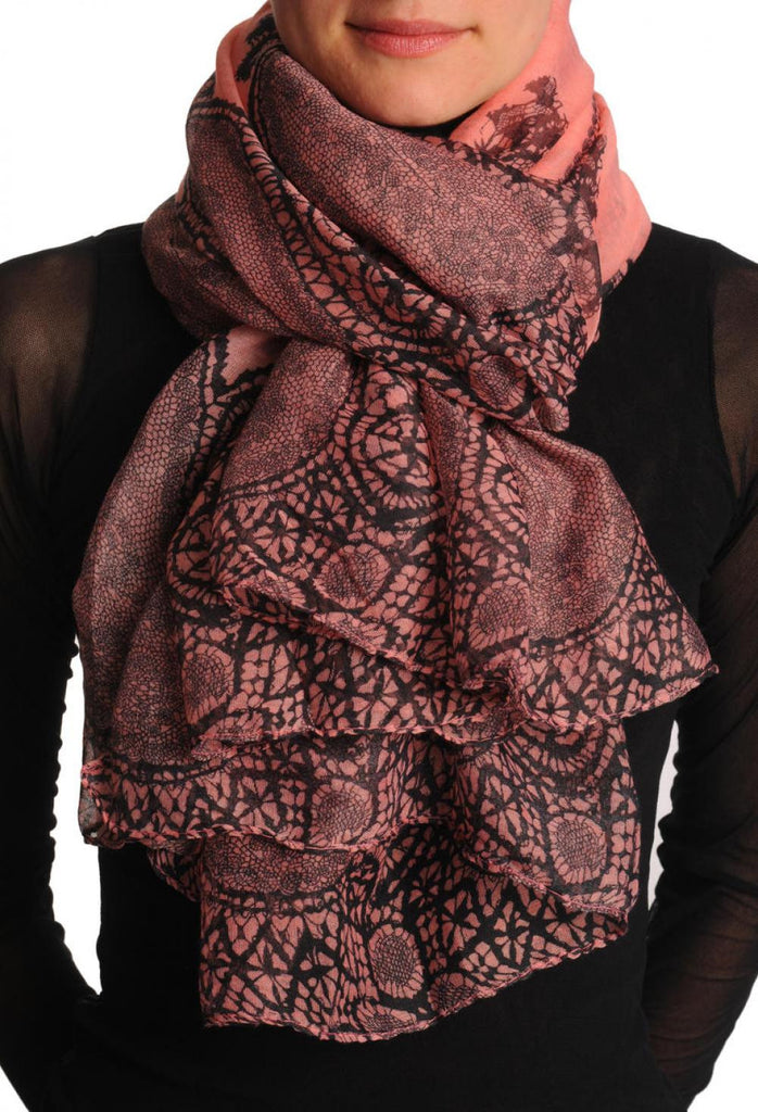 Black Lace On Dark Pink Unisex Scarf & Beach Sarong