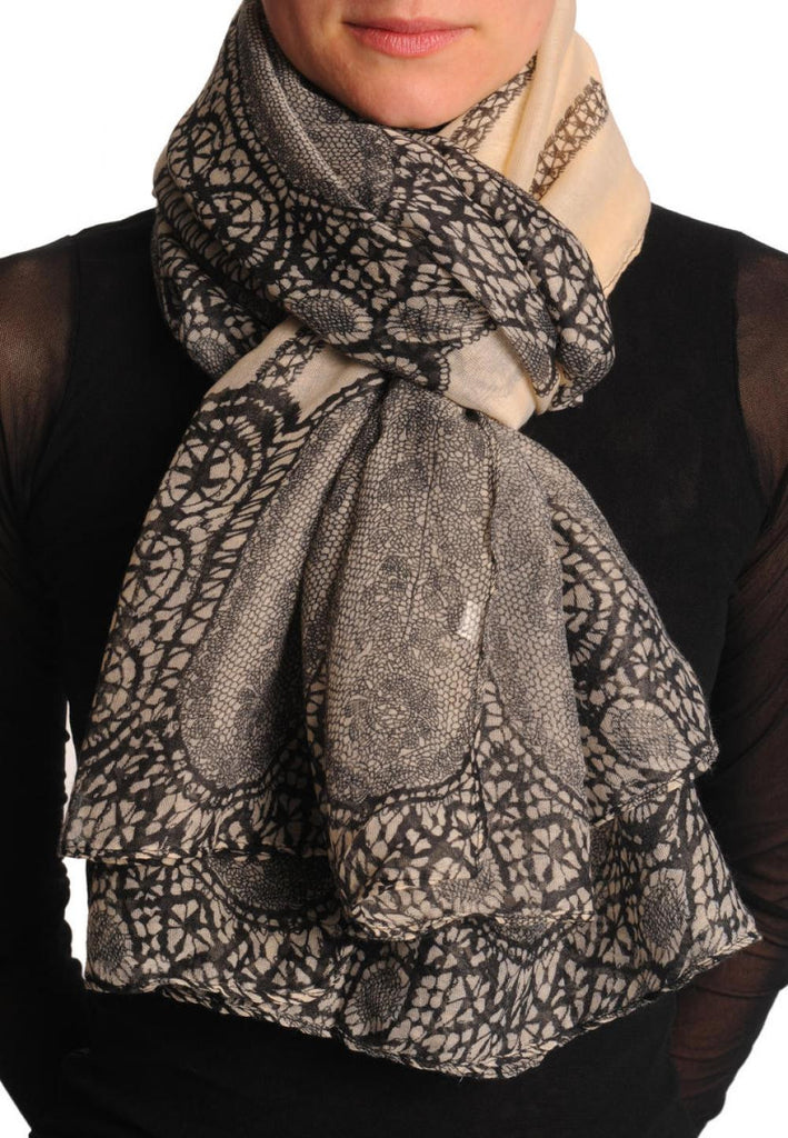 Black Lace On Beige Unisex Scarf & Beach Sarong