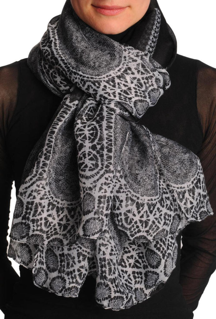 White Lace On Black Unisex Scarf & Beach Sarong