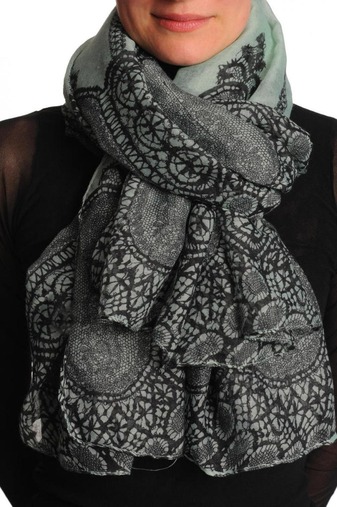 Black Lace On Moss Green Unisex Scarf & Beach Sarong