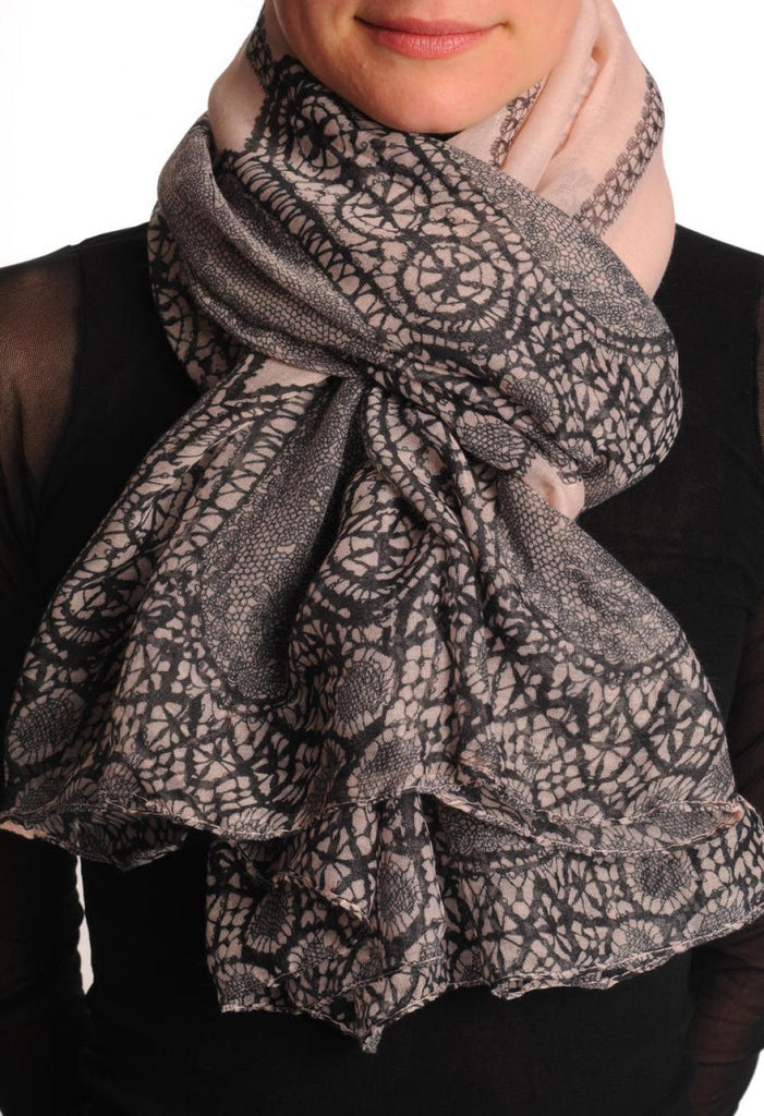 Black Lace On Light Pink Unisex Scarf & Beach Sarong