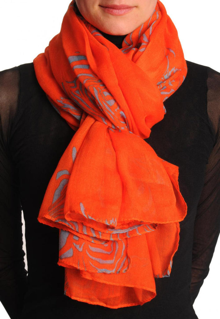 Grey Zebra On Rust Unisex Scarf & Beach Sarong