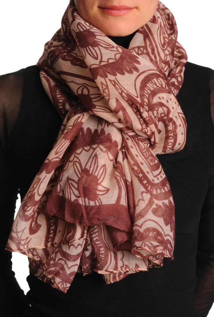 Burgundy Wide Lace On Light Pink Unisex Scarf & Beach Sarong
