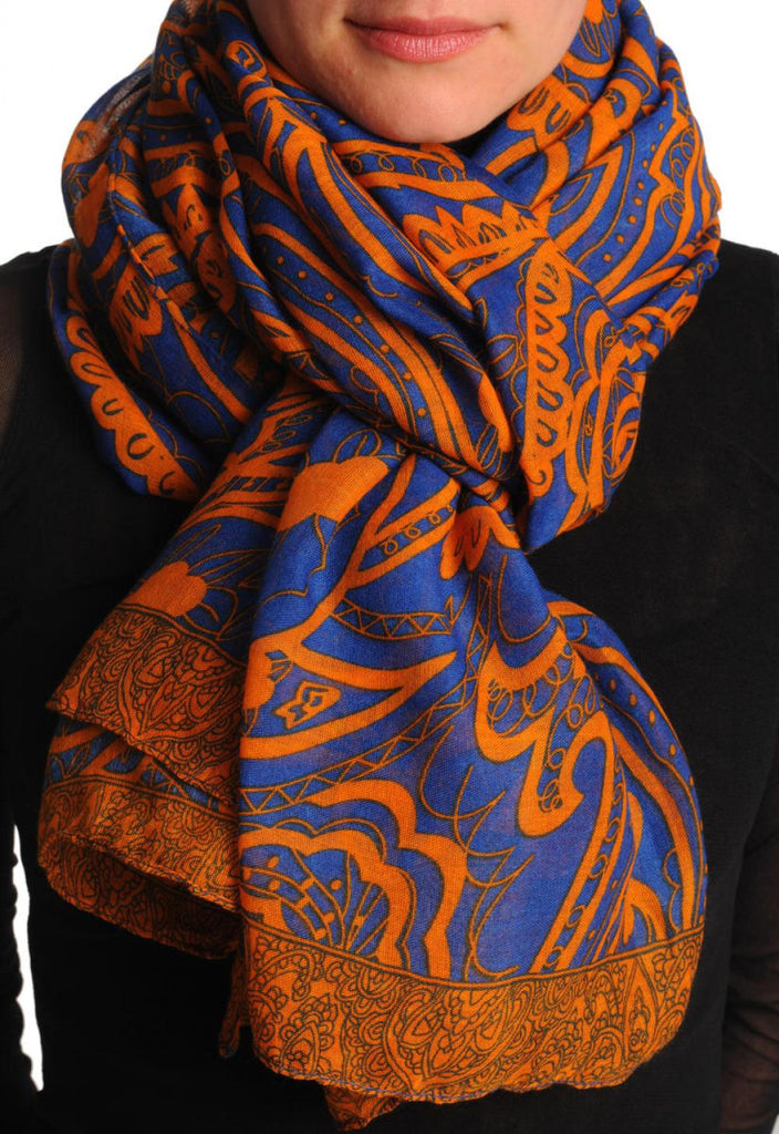 Rust Wide Lace On Blue Unisex Scarf & Beach Sarong