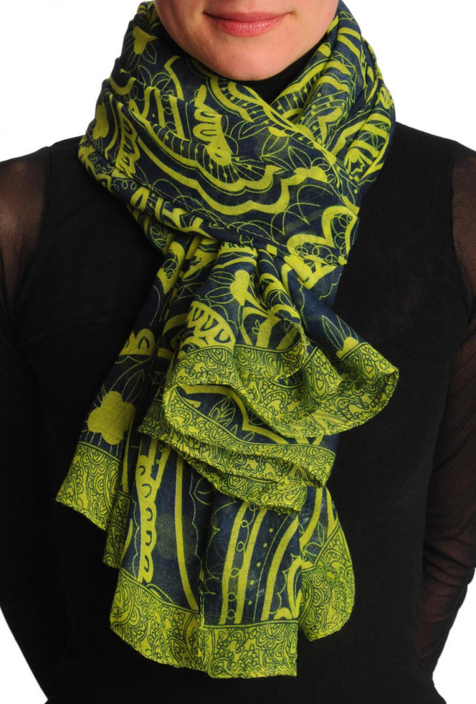 Lime Green Wide Lace On Dark Blue Unisex Scarf & Beach Sarong