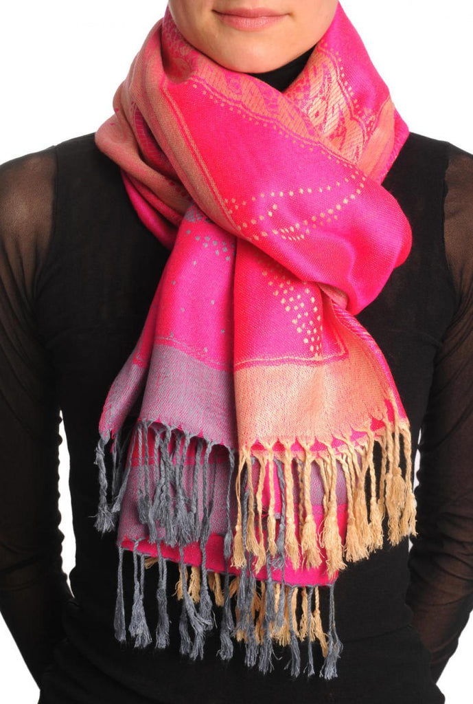 Grey & Beige Roses Reversed On Bright Pink Pashmina With Tassels
