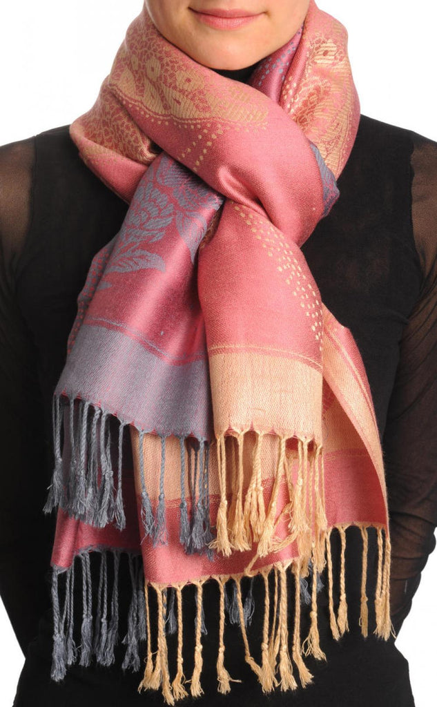 Grey & Beige Roses Reversed On Chestnut Pink Pashmina With Tassels