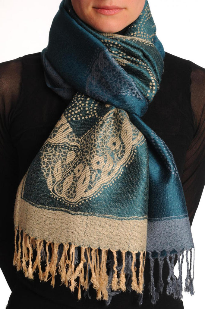 Grey & Beige Roses Reversed On Prussian Blue Pashmina With Tassels