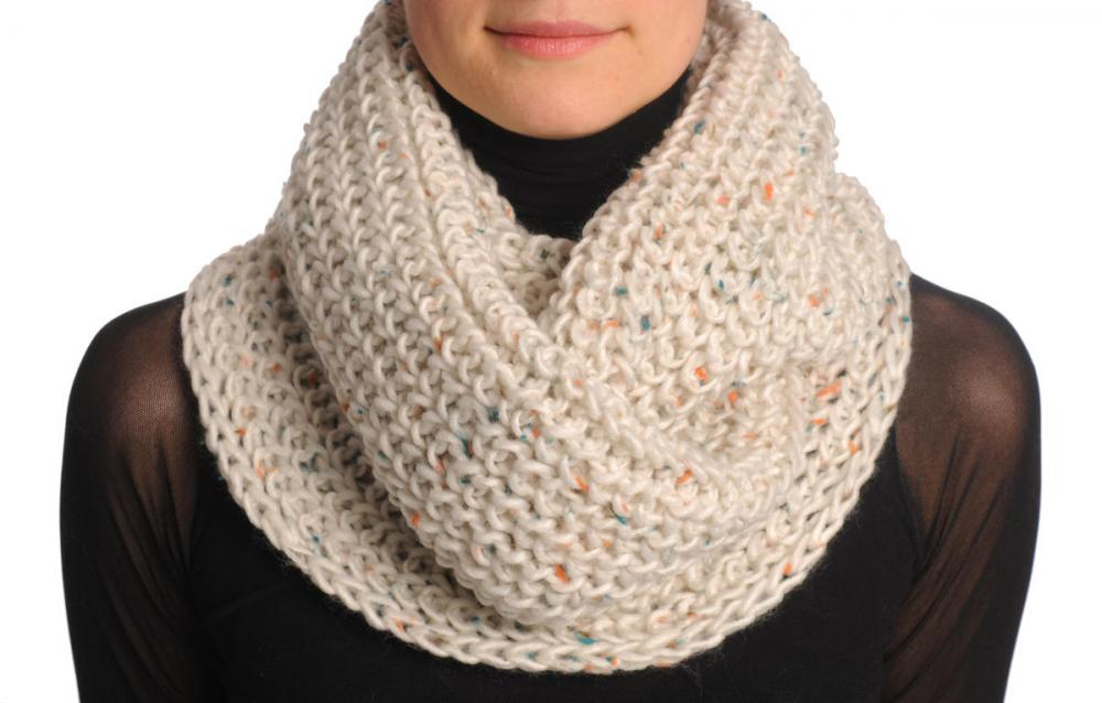 One Or Two Loops Knitted Sand White Melange Snood