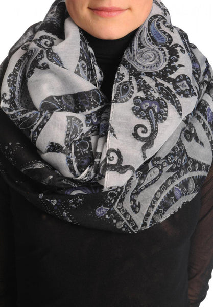 Grey & Black Turkish Flowers On Grey Scarf