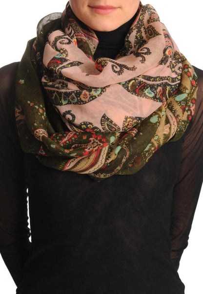 Olive Green & Red Turkish Flowers On Pink Scarf