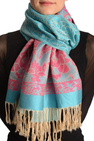 Beige Circles And Red Flowers On Blue Pashmina With Tassels