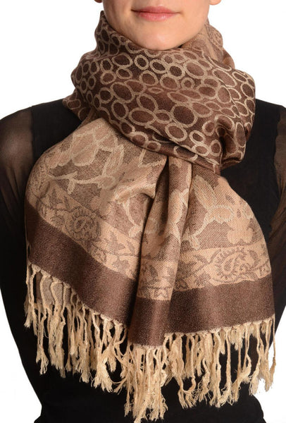Beige Circles And Beige Flowers On Brown Pashmina With Tassels