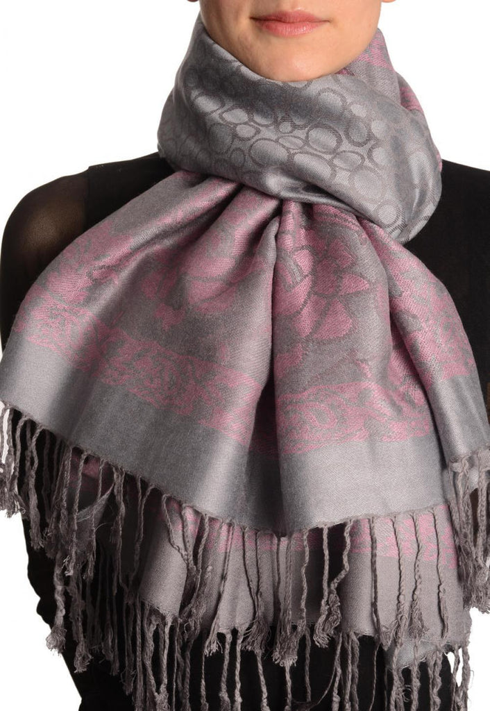 Grey Circles And Soft Pink Flowers On Light Grey Pashmina With Tassels