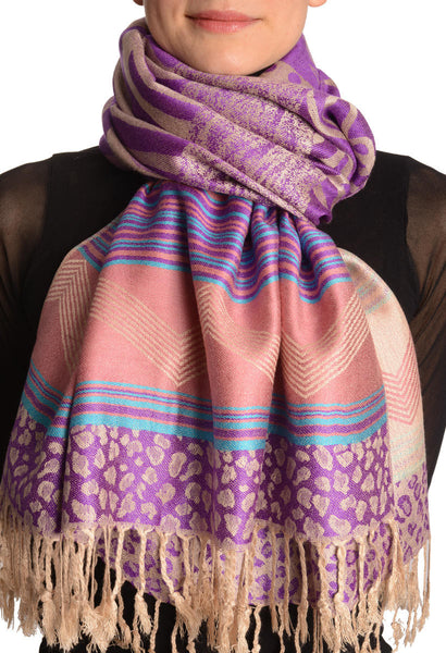 Assimetrical Ornaments On Purple Pashmina With Tassels