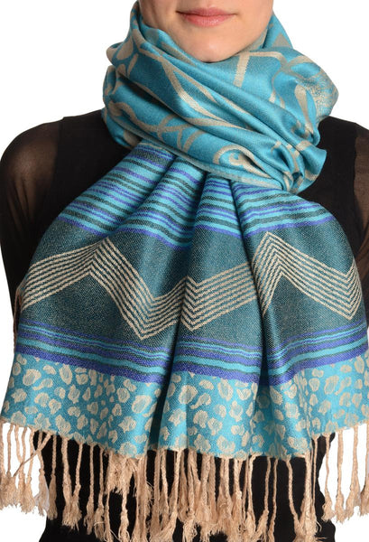 Assimetrical Ornaments On Blue Pashmina With Tassels