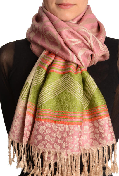 Assimetrical Ornaments On Soft Pink Pashmina With Tassels