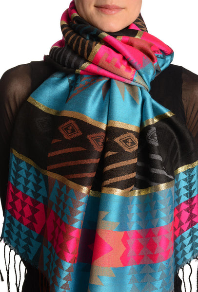 Aztec Patern On Blue & Pink With Gold Lurex Pashmina With Tassels