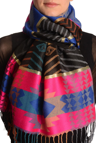 Aztec Patern On Pink & Blue With Gold Lurex Pashmina With Tassels