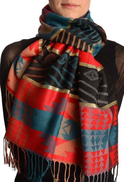 Aztec Patern On Red & Prussian Blue With Gold Lurex Pashmina With Tassels