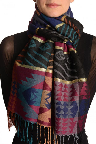 Aztec Patern On Dark Blue & Maroon With Gold Lurex Pashmina With Tassels