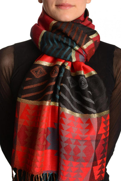 Aztec Patern On Red & Dark Red With Gold Lurex Pashmina With Tassels