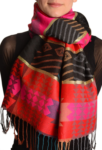 Aztec Patern On Red & Magenta With Gold Lurex Pashmina With Tassels