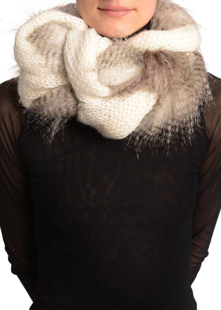 White Knitted Plait Style Snood With Faux Fur