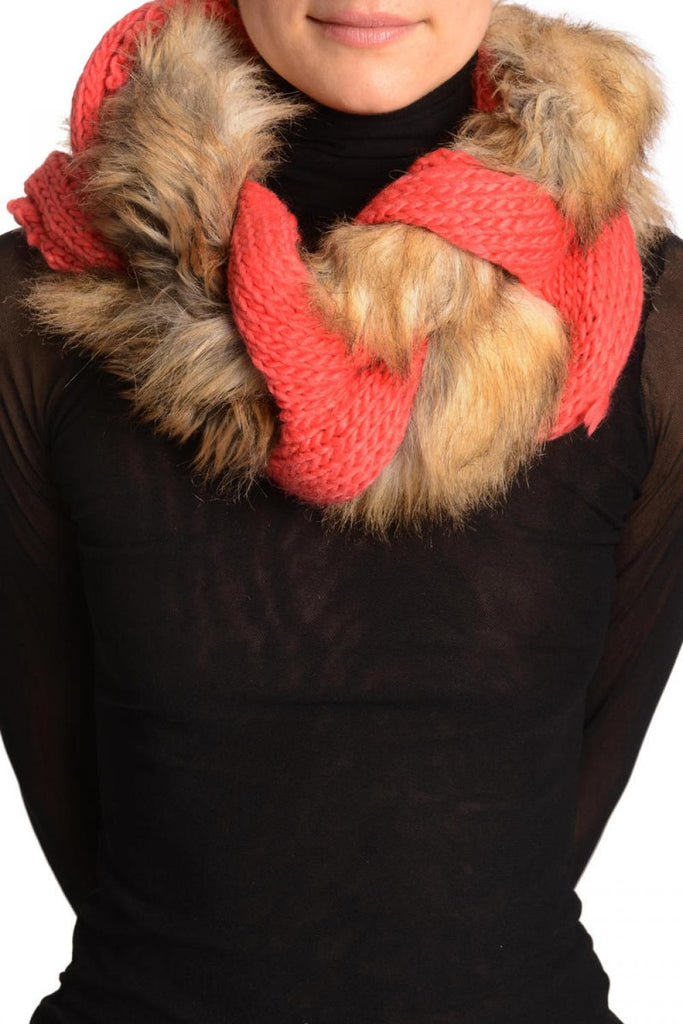 Peach Pink Knitted Plait Style Snood With Faux Fur