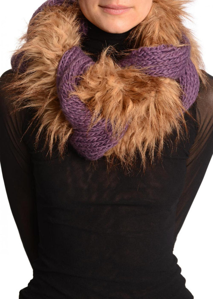 Purple Pink Knitted Plait Style Snood With Faux Fur