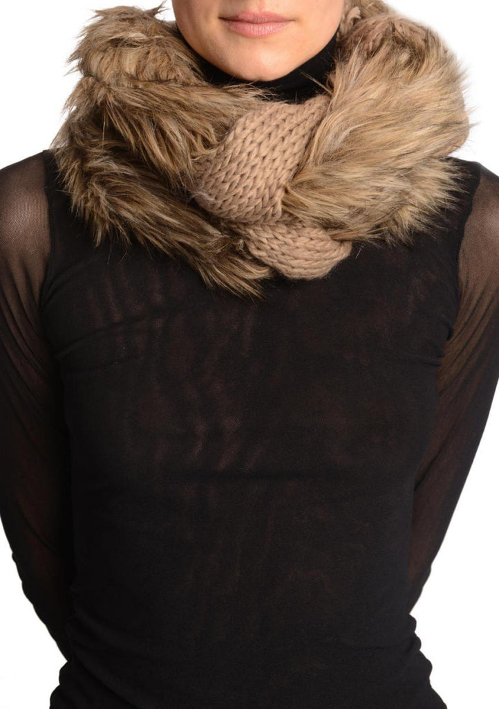 Mocha Knitted Plait Style Snood With Faux Fur