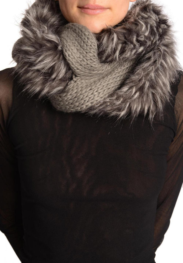 Grey Knitted Plait Style Snood With Faux Fur