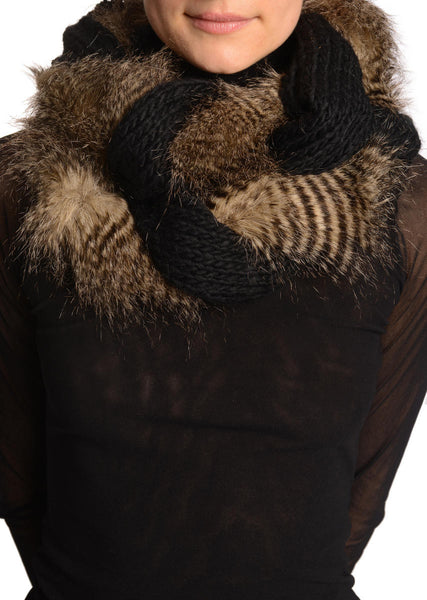 Black Knitted Plait Style Snood With Faux Fur