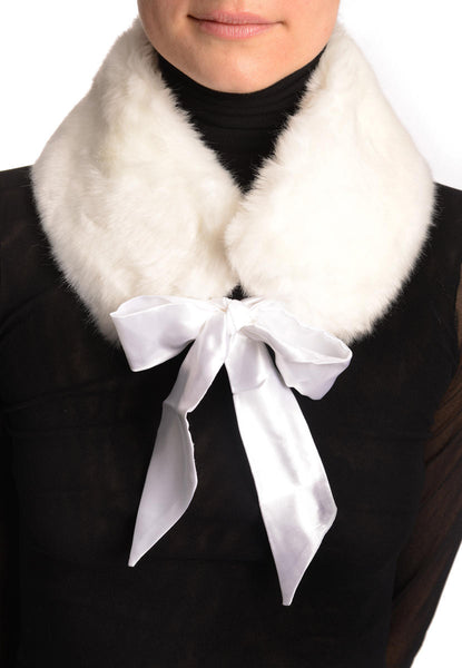 White Faux Fur Collar With Satin Bow Collar Scarf