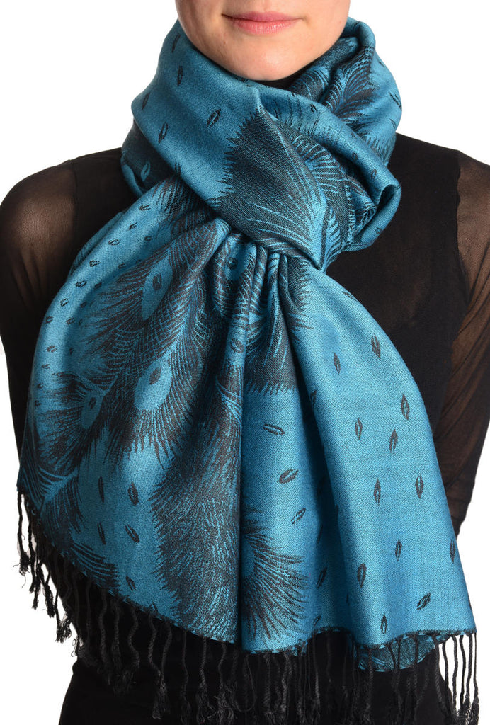 Peacock Feathers On Teal Blue Pashmina With Tassels