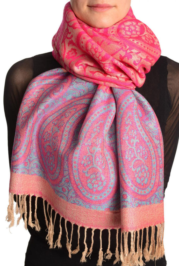 Reversed Paisley On Magenta Pink Pashmina With Tassels
